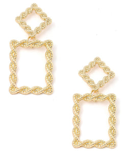 Rectangular Twisted Rope Drop Earrings - I Am Lilou Bloom