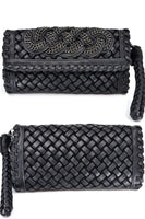 Vegan Black Leather Crossbody Clutch Bag With Strap-I Am Lilou Bloom
