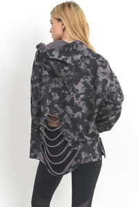 Camo Distressed Hoodie Sweatshirt-I Am Lilou Bloom
