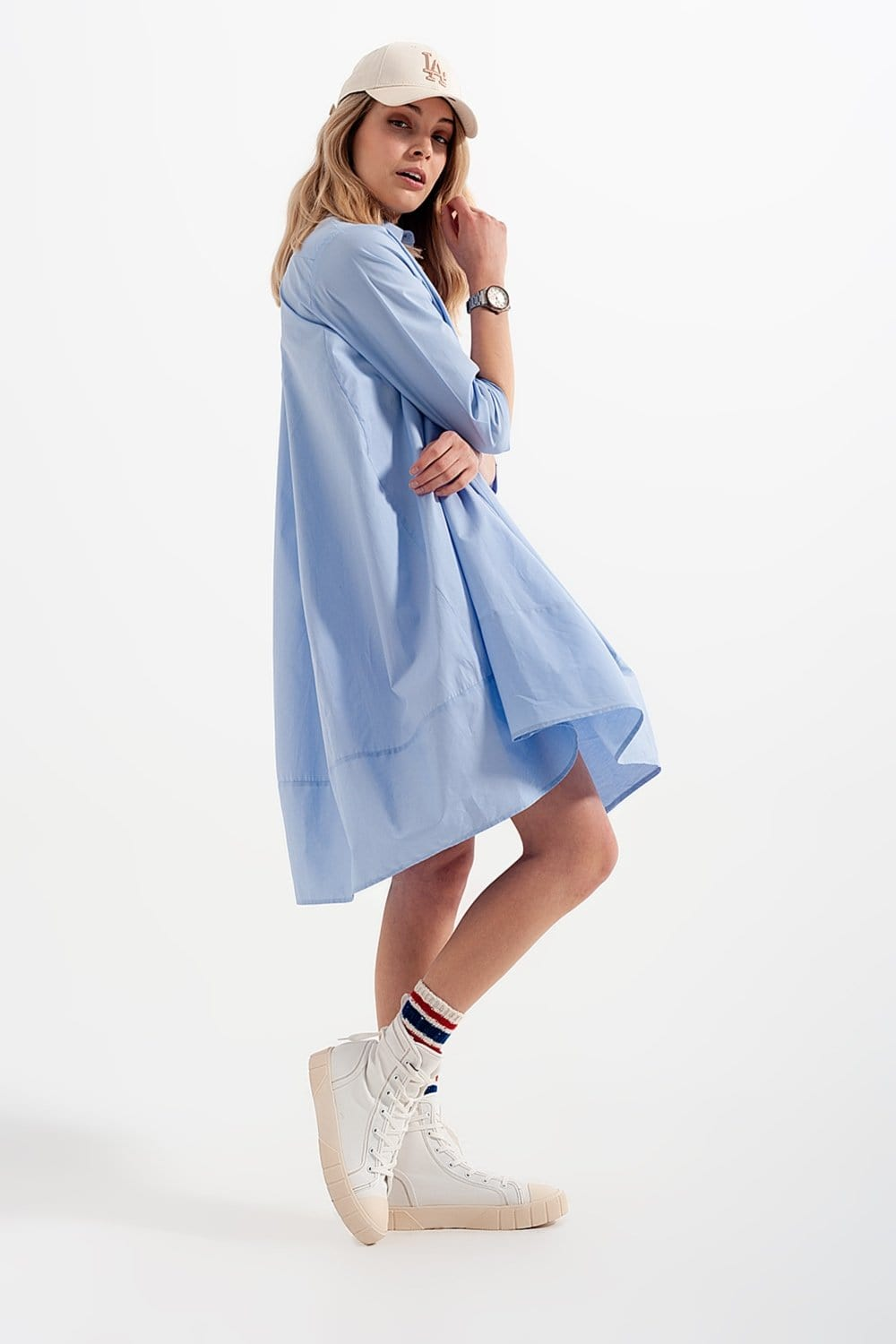 Oversized Dress Shirt (Blue) - I Am Lilou Bloom