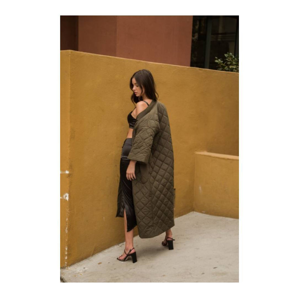 The Naomi Quilted Maxi Coat-I Am Lilou Bloom