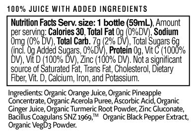 Ultimate Defense Shot Nutrition Facts