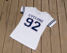 Load image into Gallery viewer, Cyclone Varsity Women Tee Shirt- White Navy