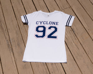 Cyclone Varsity Women Tee Shirt- White Navy