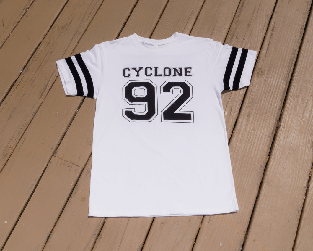 Cyclone Varsity Men- Tee Shirt- White Black
