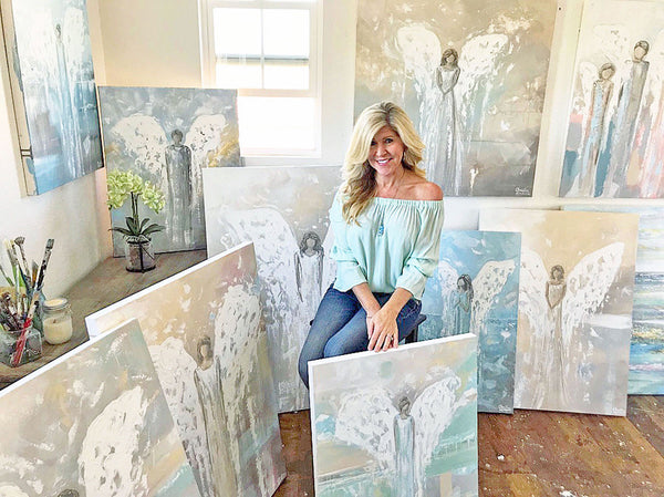 Angel Paintings by Artist Christine Krainock Textured wall art home decor farmhouse coastal interior design angels art