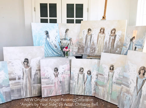 Original Angel Paintings Holiday Wall Art Christmas Angel Home Decor Guardian Angles Sympathy Gift by Artist Christine Bell