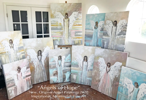 Original Angel Paintings and Prints Holiday Decor Christmas Angels wall art home decor artist Christine Bell Fine Art