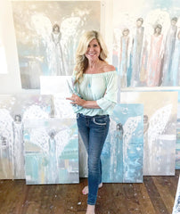 Artist Christine Krainock fine art paintings and prints coastal abstract paintings angel paintings California art studio art studio home decor wall art