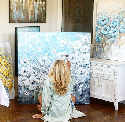 Contemporary Palette Knife Painting Artist, Christine Krainock in the art studio, completing an original, abstract, modern, coastal floral painting