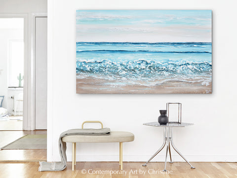 New Original Coastal Abstract Original Painting Collection, Take Me to the Sea by Artist, Christine Krainock Ocean Beach Seascape Paintings in Home Decor