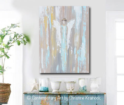 Angel painting abstract guardian angel canvas prints wall art home decor for charity donation joyful heart foundation artist christine krainock domestic assault abuse