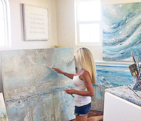 Artist, Christine Krainock painting original coastal abstract paintings on canvas in California Artist Studio Gallery textured artwork details