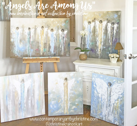 Shop all angel paintings and canvas prints by Contemporary Artist Christine Krainock modern spiritual wall art