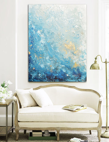 Fine Art Coastal Abstract Painting Seascape marbled Giclee Canvas Print Artist Christine Bell Krainock Drifting Away