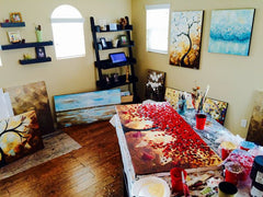 Artist Christine Krainock Art Studio Gallery - Temecula, CA San Diego, Contemporary Art by Christine Original modern abstract palette knife paintings canvas wall decor, commissioned art, prints, blossoming trees, red trees, landscapes, flower paintings, dancer paintings, cityscapes, coastal art