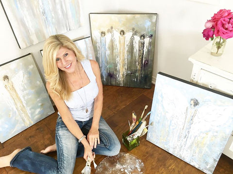 Artist christine krainock art studio original abstract palette knife paintings angel paintings gallery fine art home decor wall art san diego California