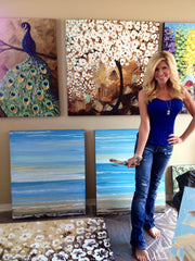 artist Christine Krainock art studio, contemporary paintings gallery, blossoming trees, peacock painting, abstract blue coastal seascape, wall art in studio, San Diego, CA
