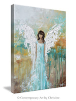 """Angel of Hope"" GICLEE PRINT Abstract Angel Painting Guardian Angel Aqua Blue Turquoise White"