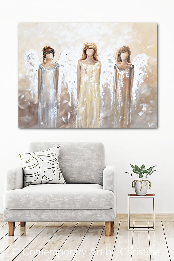 "'Surrounding You with Light"" ORIGINAL Abstract Angel Painting 3 Guardian Angels 30x40"""