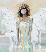"""Blessed Angel"" ORIGINAL Abstract Angel Painting Guardian Angel Green Gold White 24x36"""