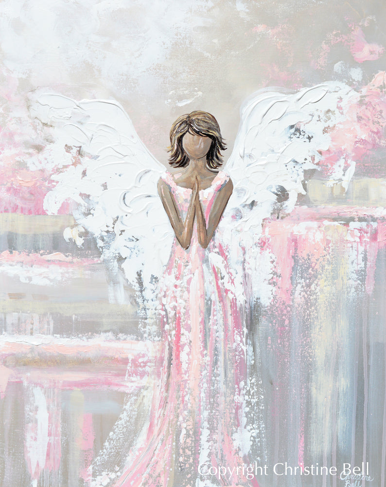 "SPECIAL RELEASE GICLEE PRINT ""She's With You"" Abstract Angel Painting Guardian Angel Pink"