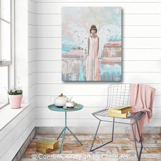 """My Precious Angel"" ORIGINAL Abstract Angel Painting Guardian Angel Pink White Blue 24x30"""
