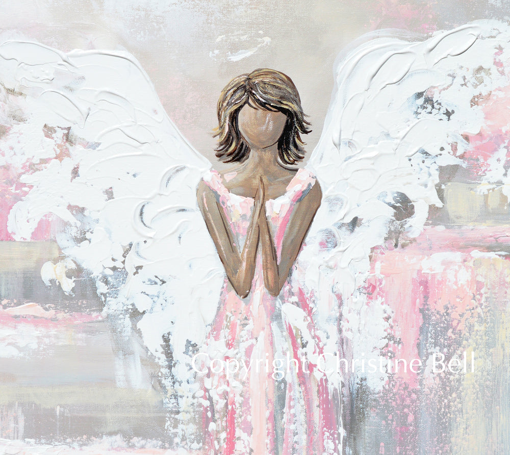 "SPECIAL RELEASE GICLEE PRINT ""She's With You"" Abstract Angel Painting Guardian Angel Pink White Beige"
