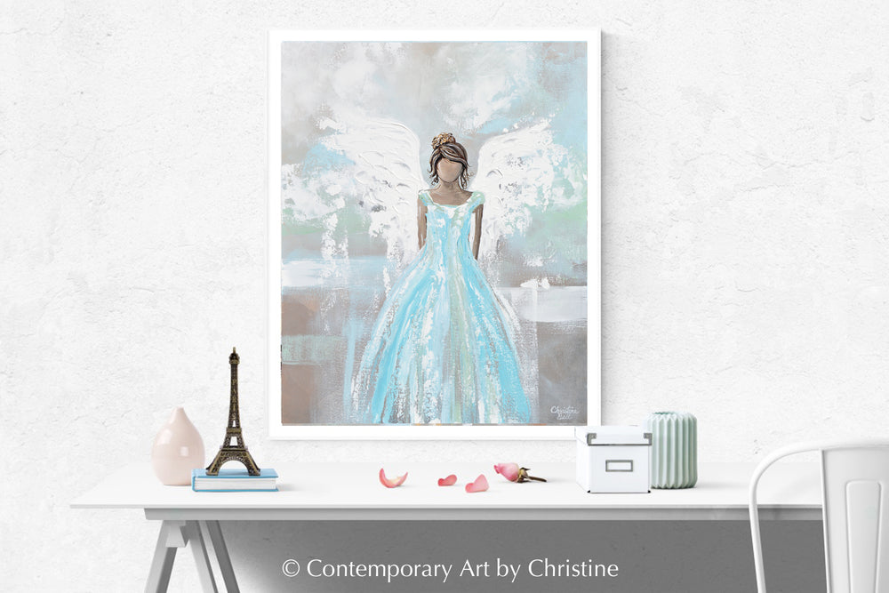 """Bringing Love to Your Heart"" ORIGINAL Abstract Angel Painting Sweet Guardian Angel Blue White 24x30"""