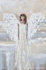 """My Gift of Love"" ORIGINAL Abstract Angel Painting Elegant Guardian Angel Cream White 24x36"""