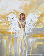 """Bringing Light and Hope"" ORIGINAL Abstract Angel Painting Guardian Angel Gold Leaf White Grey 24x30"""