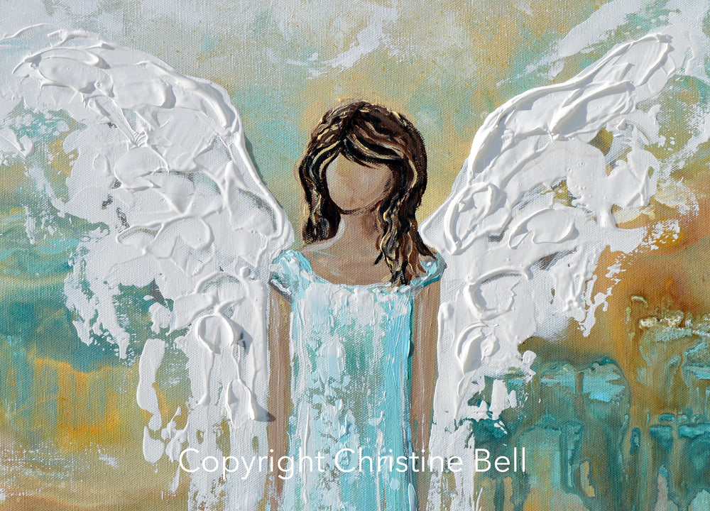 """Angel of Hope"" ORIGINAL Abstract Angel Painting Guardian Angel Aqua Blue Turquoise White 24x30"""