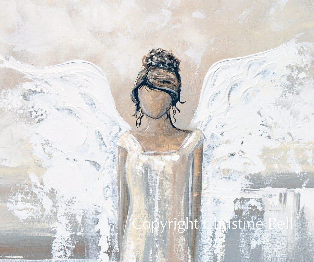 """Bringing Peace and Love"" SPECIAL RELEASE GICLEE PRINT Abstract Angel Painting Elegant Guardian Angel, for Charity"