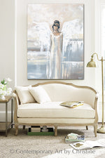 """Bringing Peace and Love"" ORIGINAL Abstract Angel Painting Elegant Guardian Angel Cream White 30x40"""