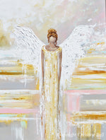 """Her Shining Light"" ORIGINAL Abstract Angel Painting Fine Art Guardian Angel White Grey Cream Neutral Home Wall Decor XL 36x48"""