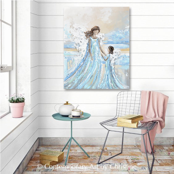 """Together with You Always"" ORIGINAL Abstract Angel Painting 2 Guardian Angels Mother Child / Sisters 24x30"""