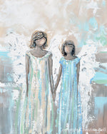 """Angels of Joy"" ORIGINAL Abstract Angel Painting 2 Guardian Angels Family Siblings Spiritual Wall Art 24x30"""
