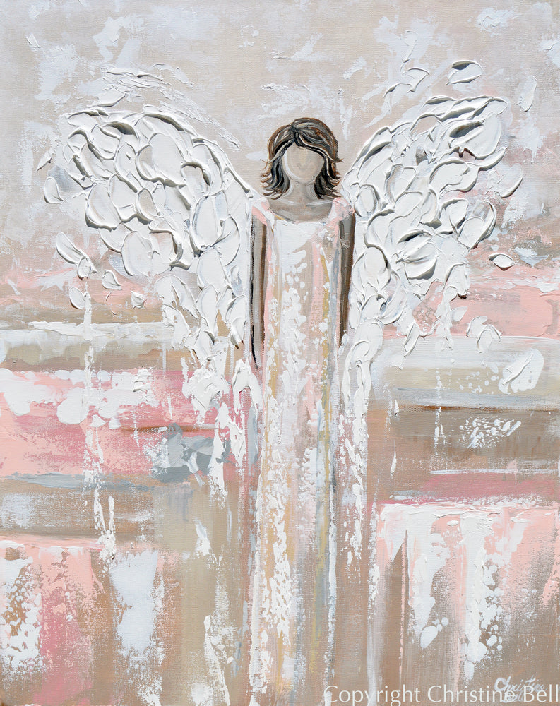 """Cherished Angel"" ORIGINAL Abstract Angel Painting Guardian Angel Beige Pink White 24x30"""