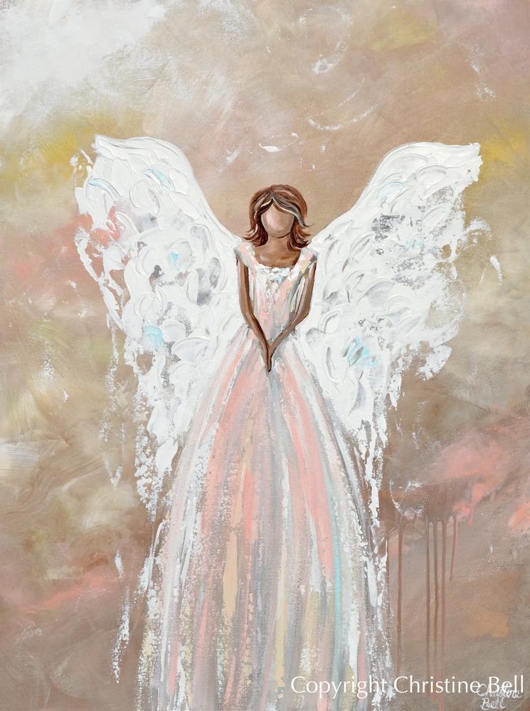 """The Love of My Heart"" ORIGINAL Abstract Angel Painting Elegant Guardian Angel Pink White 30x40"""