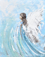 """Lifted by Grace"" ORIGINAL Abstract Angel Painting Modern Guardian Angel Wall Art Blue White 24x30"""