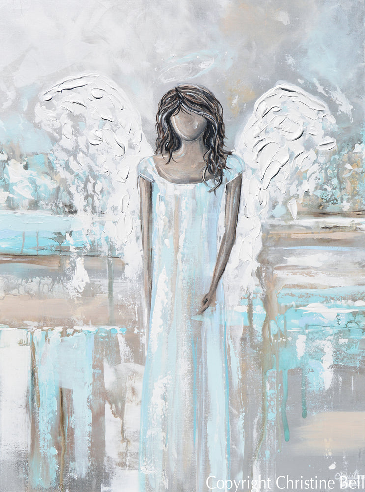 """Gracefully Guiding"" ORIGINAL Abstract Angel Painting Guardian Angel Light Blue White 30x40"""