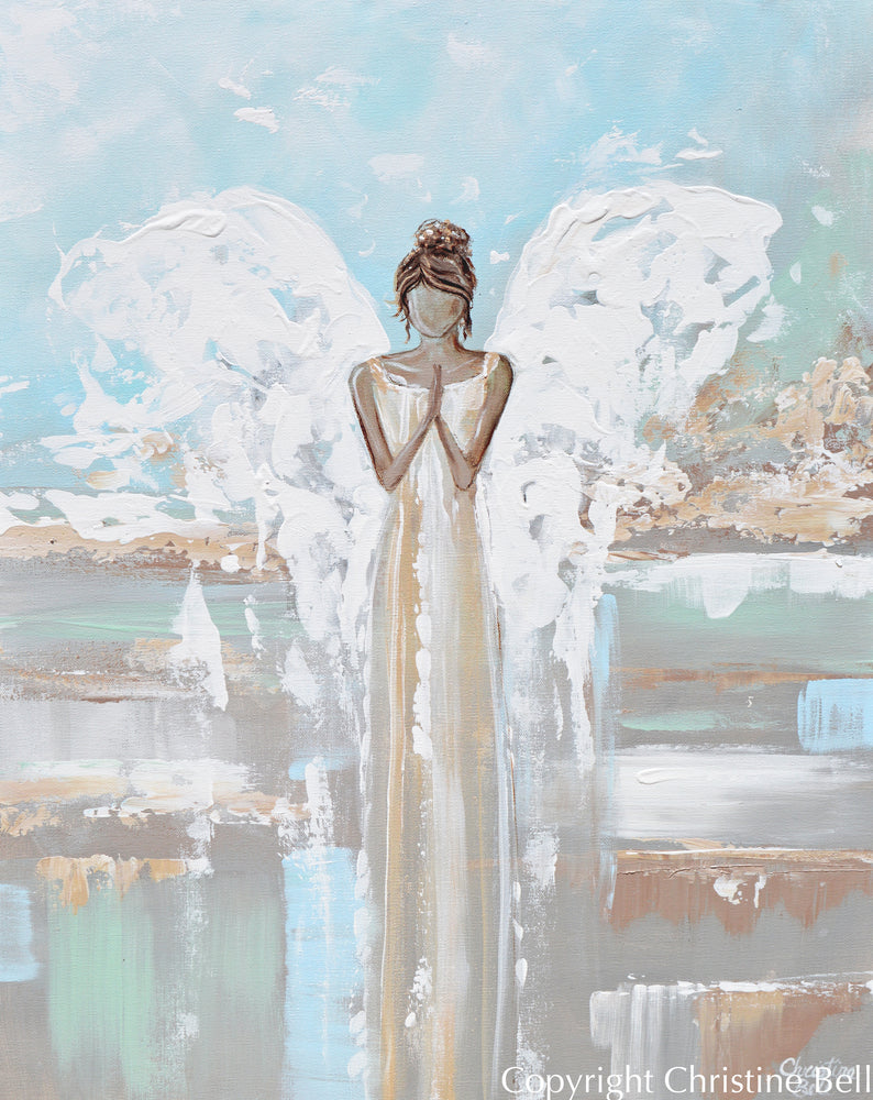 """With Hope & Love"" ORIGINAL Abstract Angel Painting Guardian Angel Blue Mint White Wall Art 24x30"""