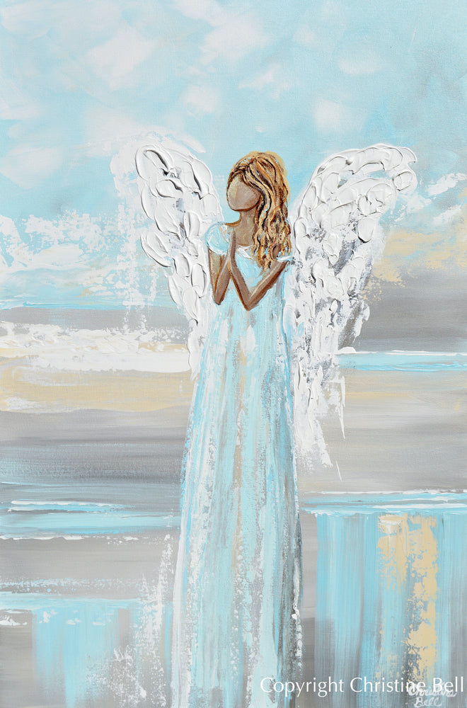 """Prayers of Hope"" ORIGINAL Abstract Angel Painting Elegant Guardian Angel Cream White 24x36"""
