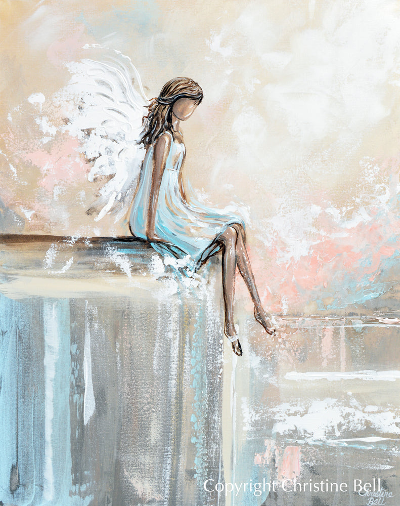 "SPECIAL RELEASE GICLEE PRINT ""Forever Watching Over"" Abstract Angel Painting Sweet Guardian Angel Sitting Protecting"