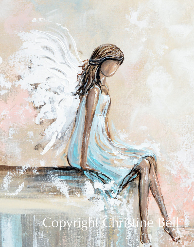 """Forever Watching Over"" ORIGINAL Abstract Angel Painting Sweet Guardian Angel Sitting Protecting 24x30"""