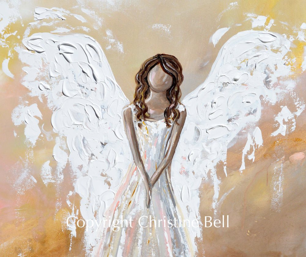 "SPECIAL RELEASE GICLEE PRINT ""Her Inner Glow"" Abstract Angel Painting Guardian Angel Pink"