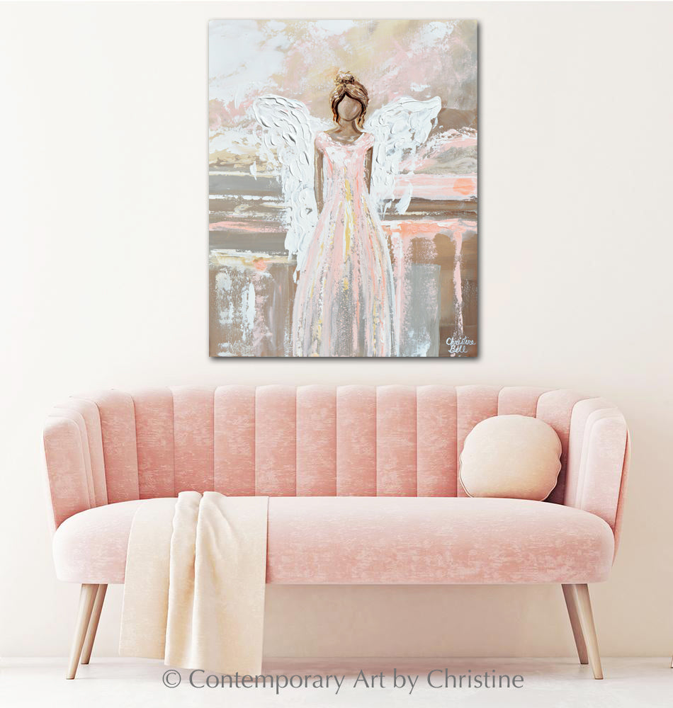 """Everlasting Love"" ORIGINAL Abstract Angel Painting Guardian Angel Pink White Beige 24x30"""