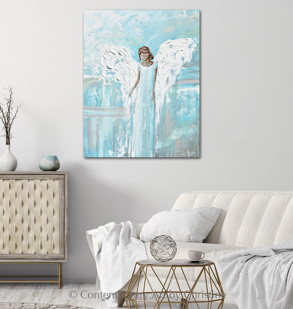 """Have Hope and Strength"" ORIGINAL Abstract Angel Painting Modern Guardian Angel Wall Art Blue White 24x30"""
