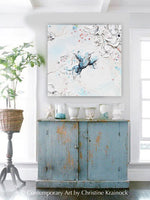 GICLEE PRINT Art Abstract Hummingbird Painting Cherry Blossoms Blue Bird White Pink Wall Art Home Decor