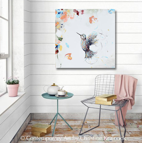 Giclee Canvas Print Art Abstract Hummingbird Painting White Wall